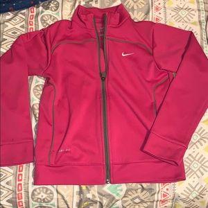 Hot pink girls Nike dry fit soft track jacket sz L